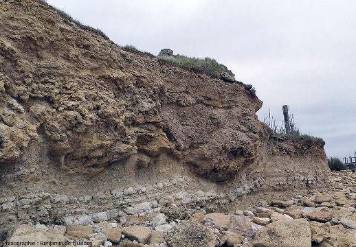 Vue 2020 de la falaise au Sud de la presqu'ile du Chay, assez semblable au schéma de 1978