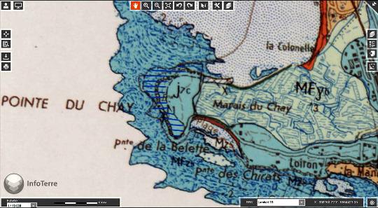 Carte géologique de la pointe du Chay, constituée de Kimméridgien inférieur (J7c)
