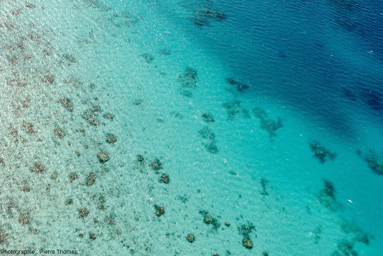 Limite entre la partie peu profonde du quasi-lagon, avec sa partie peu profonde à gauche, et une part plus profonde à droite, Moore Reef