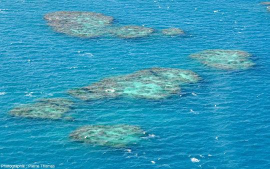 Vue rapprochée de récifs isolés au sein du quasi-lagon de Moore Reef