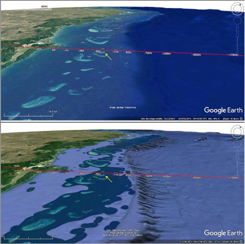 Vue (1) sur une partie de la Grande Barrière de Corail, sur la côte Nord-Est de l'Australie et vue (2), en bas, du même secteur montrant la topographie des fonds océaniques