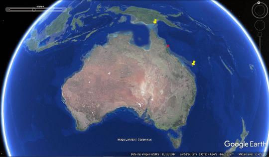 Localisation de la Grande Barrière de Corail au Nord-Est de l'Australie (entre les deux punaises jaunes)