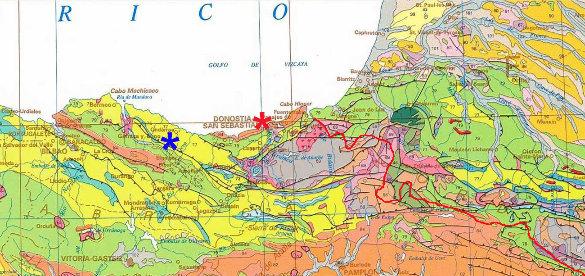 Extrait de la carte géologique de l'Espagne au 1/2000000 couvrant le Pays basque de part et d'autre de la frontière franco-espagnole (ligne rouge)