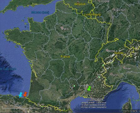 Localisation de Saint-Sébastien (punaise rouge), de la carrière Markina (punaise bleue) et d'Orgon (punaise verte) sur une vue générale élargie de la France