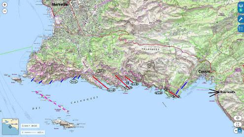 Carte topographique IGN du massif des Calanques entre Marseille et Cassis et localisation des images