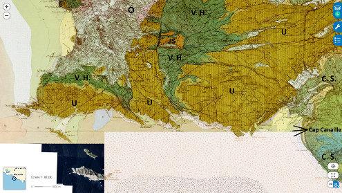 Carte géologique au 1/50000 du massif des Calanques avec la même échelle et le même cadrage que la figure 5
