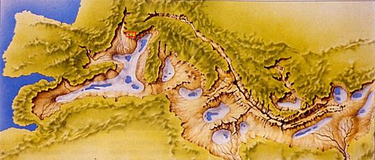 Localisation du massif des Calanques (rectangle rouge) dans le cadre morphologique de la Méditerranée au Messinien