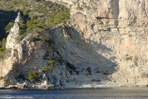 Zoom sur les plis de la figure précédente, plis affectant les calcaires marneux hauteriviens situés sous les calcaires urgoniens, calanque de Sugiton