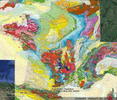Localisation du Parc national des Calanques (punaise rouge) sur la carte géologique de France