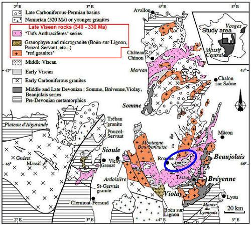 Carte géologique simplifié du quart Nord-Est du Massif Central anté-Trias mettant en valeur l'épisode volcano-plutonique du Viséen supérieur