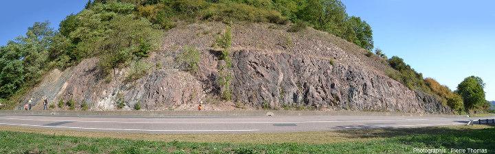 Vue d'ensemble d'un ensemble filonien de microgranite recoupée par la D308 au Nord de Pont-Trambouze, Rhône