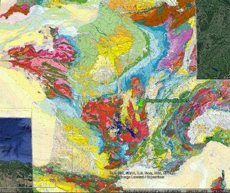 La province rhyolitique des tufs anthracifères localisée sur la carte géologique de France au 1/1000000