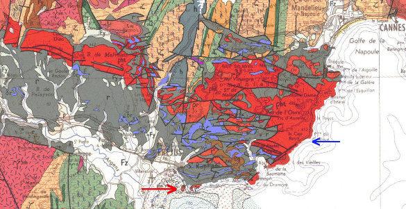 Extrait de la carte géologique de Nice à 1/250000