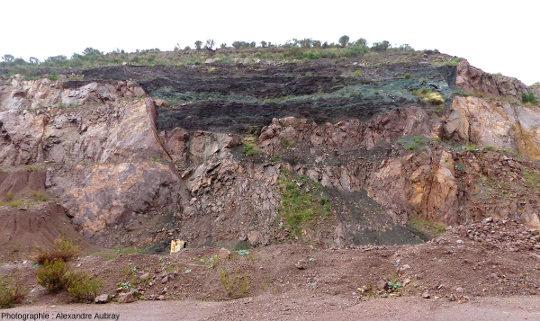 Front de taille de la carrière de rhyolite du Pont du Duc exploitée par la société CEMEX , commune de Fréjus (Var)