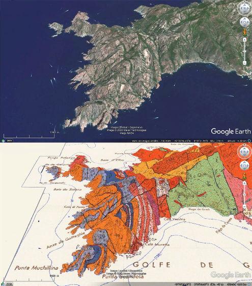 Vue aérienne et géologique correspondante de la presqu'ile de Scandola (Corse)