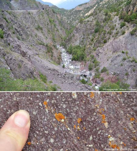 Gorges du Guil, Hautes-Alpes, et rhyolites rouges permiennes