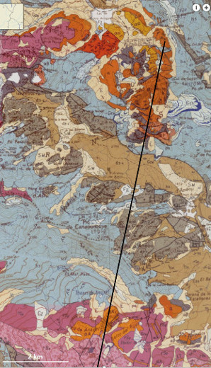 Extrait de la carte géologique à 1/50000 des volcans d'Ossau (au Nord) et d'Anayet (au Sud, déjà en Espagne)