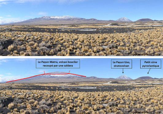 Panorama (pris en direction du Sud) résumant la morphologie de la province volcanique du Payun Matru (département de Malargüe, province de Mendoza, Argentine)