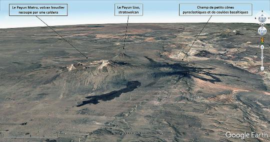 Vue aérienne de la région volcanique du Payun Matru (département de Malargüe, province de Mendoza, Argentine)