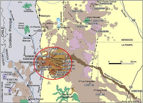 Carte géologique simplifiée de la région de l'Argentine centrale où se trouve la province volcanique du Payun Matru (cercle rouge)