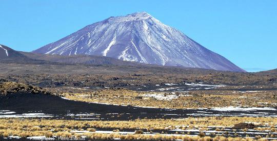 Vue globale du Payum Liso (appelé également Cerro Payen), stratovolcan culminant à 3838m, Argentine