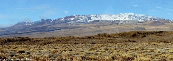 Vue depuis le sol (en direction du Sud-Est) du flanc Nord-Ouest du Payun Matru, Argentine
