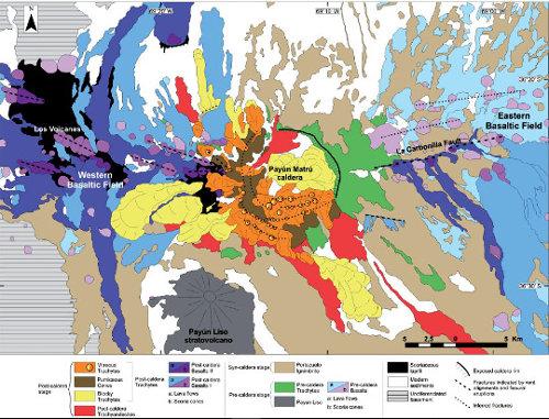 Carte géologique de la province volcanique du Payun Matru, Argentine