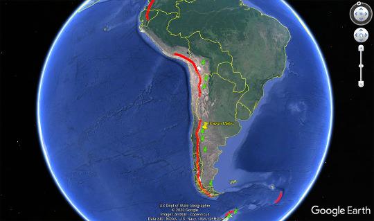 """Répartition de l'alignement des volcans holocènes de subduction """"»classiques""""(trait rouge) et des volcans """"d'arrière arc"""" (punaises vertes) dont le Payun Matru (en jaune)"""