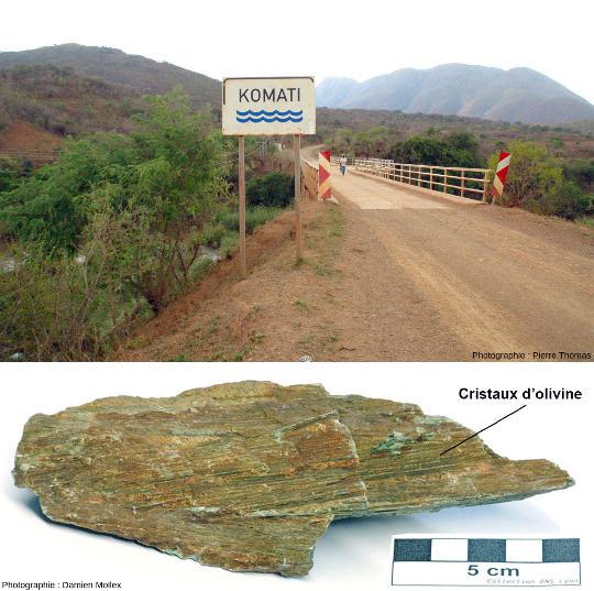 Pont sur la Komati River, rivière d'Afrique du Sud qui a donné son nom à une rochevolcanique: la komatiite