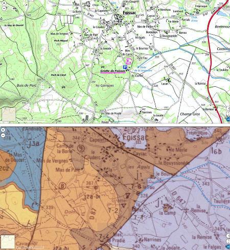 Cartes topographique et géologique des environs de la grotte de Foissac (Aveyron)