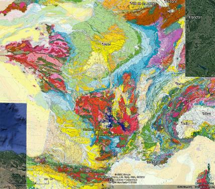 Localisation, sur fond de carte géologique de la France, de la grotte de Foissac et du dolmen de Varaire