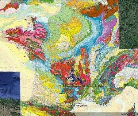 Localisation du Cloup d'Aural (Lot) et de la région des phosphatières (rectangle noir) sur la carte géologique de France