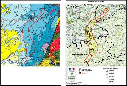 À droite, carte des phosphatières (classées en fonction de leur intérêt) dressée pour la constitution de la Réserve nationale d'intérêt géologique du département du Lot, et, à gauche, extrait correspondant de la carte de France au 1/1000000