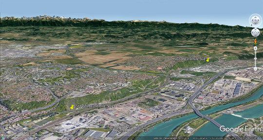 Vue aérienne oblique en direction du Sud-Est montrant la localisation des photographies prises entre les punaises de Saint-Fons et de Feyzin