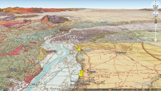 Carte géologique correspond à la vue précédente du Sud de Lyon montrant où ont été prises la majorité des photographies, entre les deux punaises jaunes