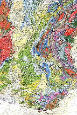 Extrait de la carte géologique de France à 1/1000000