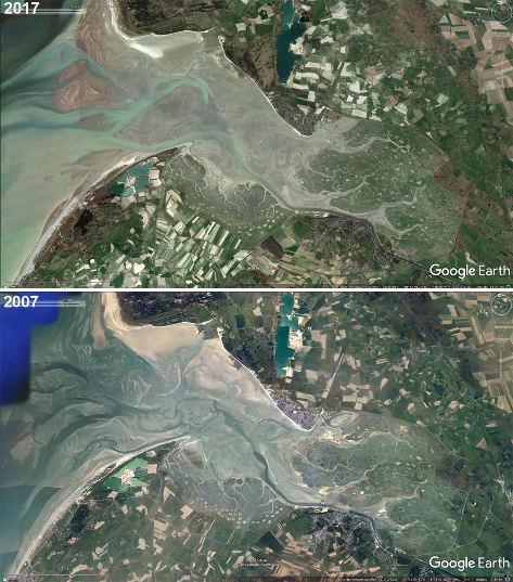 Vues aériennes de la Baie de Somme prises à 10 ans d'intervalle