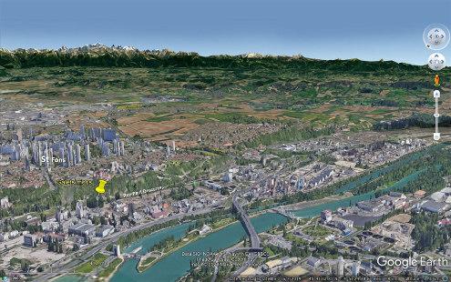 Vue aérienne oblique (vue en direction du Sud-Est) montrant la localisation des affleurements de cette semaine, entre le Nord de la rue Paul Descartes à Saint-Fons et le Sud du Chemin du Vieux collège à Feyzin