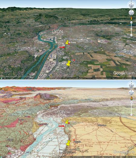 Vue (en direction du Nord) et carte géologique du Sud de Lyon montrant la localisation des flute casts de Saint-Fons (flèche rouge), entre Saint Fons et Feyzin