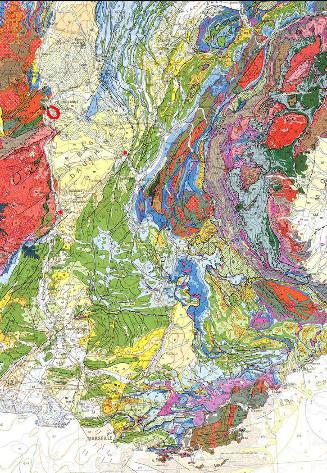 Extrait de la carte géologique de France au 1/1000000