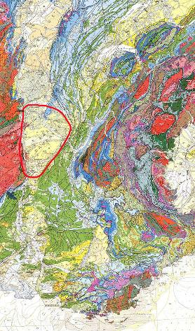Localisation du Bas Dauphiné sur la carte géologique de France au 1/1000000