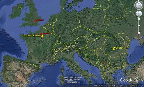 Localisation de Fontainebleau (France) et de Costesti (Roumanie)