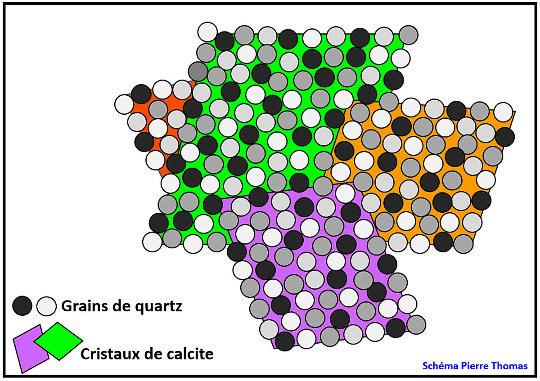 Schéma simplifié d'une lame mince théorique qui aurait été faite dans un groupe de quatre cristaux de calcite sableuse
