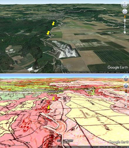 Le cadre géologique des anciennes carrières de Puiselet (punaises jaunes) d'où proviennent les échantillons montrés ici