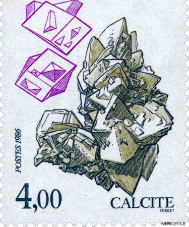 Timbre-poste édité par les PTT en 1986 et représentant de la calcite de Bellecroix
