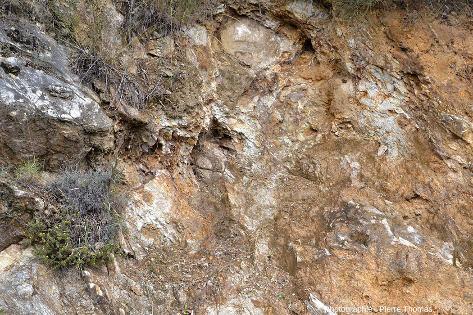 Zoom sur le contact Est de l'écaille de marbre, entre le marbre (à gauche) et le granite très altéré (à droite)