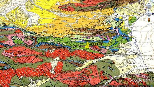 Localisation de l'affleurement de la FNP à Sournia sur un agrandissement de la carte géologique de France à 1/1000000