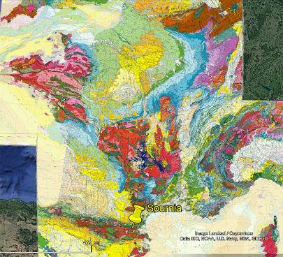 Localisation du site de Sournia sur la carte géologique de France au 1/1000000