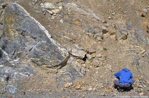 Brèche de faille cimentée par la calcite blanche, près de Réotier, Hautes-Alpes