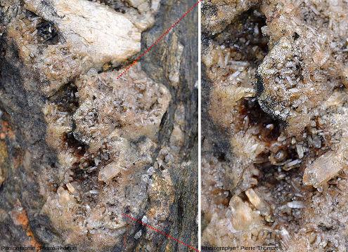 Zoom et détail sur les cristallisations de quartz visibles dans une géode au centre du filon vu de plus loin dans les figures 4 et 5